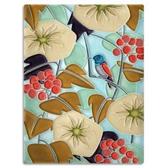 The flowers and bird on this vivid Hummingbird tile teem with life.