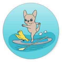 #Frenchie doing yoga on stand-up paddle board classic round sticker - #bulldog #puppy #bulldogs #dog #dogs #pet #pets
