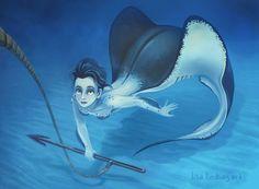 Here is the painted version of my Stingray mermaid. Mermaid Drawings, Mermaid Art, Magical Creatures, Sea Creatures, Fantasy Kunst, Fantasy Art, Ange Demon, Mermaids And Mermen, Merfolk