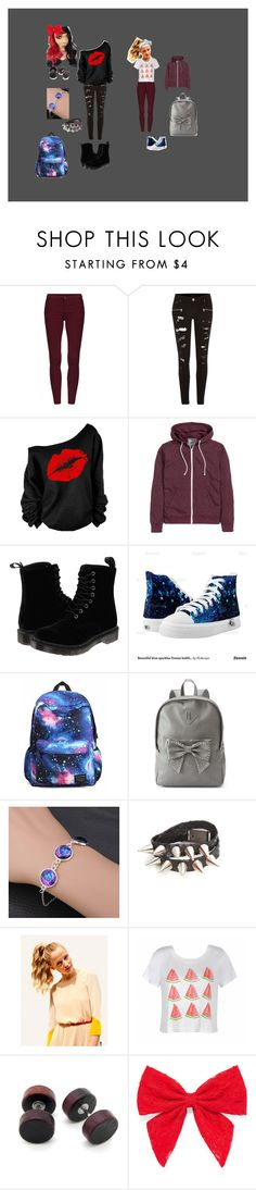 """school with niace"" by diane1378 ❤ liked on Polyvore featuring River Island, Dr. Martens, Disney, Candie's, Hershesons, Ally Fashion, Carole and Beauxoxo"