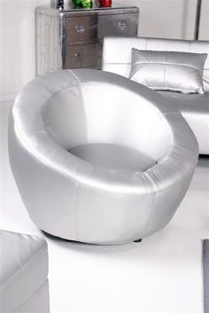 Kasper Wohndesign Lounge - Ballchair Kugelsessel NEW LOFT Lederimitat silber