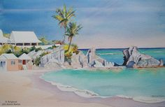 Jill Amos Raine, Bermudian Watercolour Artist -my fav. many of her works are in my new home. Her husband was a lovely man also Mother Memory, Tourism Poster, Family Memories, Staycation, Wonders Of The World, Sally, Watercolors, Places To Travel, Islands
