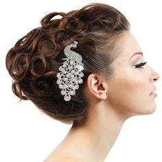 Cristal de Swarovski boda blanco/marfil perla peine, tocado de novia Tiara, pavo real pelo accesorios para el cabello, joyas de la dama de honor-111744901