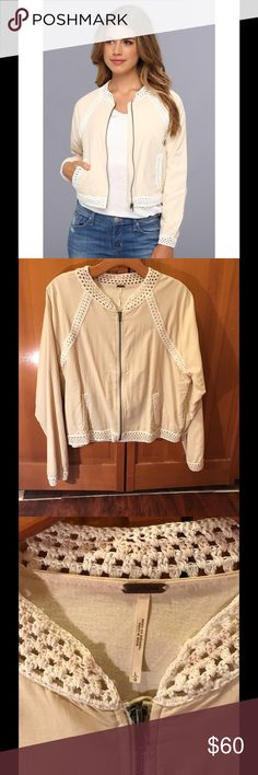 Free People Crochet Bomber in Cream RARE Excellent condition only worn once or twice. Light weight crochet bombe jacket. Open to offers Free People Jackets & Coats