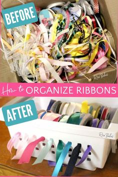 Learn How to Organize Ribbons for your cake boards with this easy tutorial requiring only a couple of cheap tools you can likely grab at the dollar store! #organization #organizeribbons #ribbons #ribbonorganization #ribbonstorage #organized