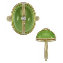 Temple St Clair Cabochon Peridot and Diamond Locket Ring in 18k Yellow Gold - Lux Bond & Green