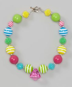 Look at this Yellow & Blue Chunky Bead Necklace on #zulily today!