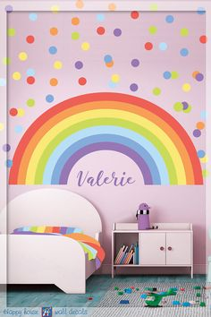 Pastel Rainbow Wall Decal - Pastel Polka dot - Pastel Rainbow - Personalized Name Wall decor - Girls Bedroom Decor - Nursery Wall decal by on Etsy Rainbow Room Kids, Rainbow Bedroom, Rainbow Theme, Polka Dot Nursery, Polka Dot Walls, Polka Dots, Polka Dot Room, Rainbow Wall Decal, Rainbow Decorations