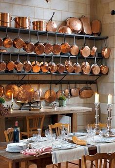 Decorating With Copper Pots For An Old World French Kitchen - copper kitchen French Country Colors, French Country Kitchens, French Country House, French Style, European House, French Cottage, Country Style, French Decor, French Country Decorating