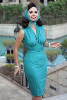 Daisy Dapper ~ 50s Loretta Pencil Dress in Aqua #iddavonmunster