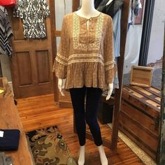 NEW ARRIVAL STyled with denim leggings! Just add your favorite boots or booties to complete the look! Www.lorelaiscom #lorelaisstyle #boutiquesonbroadway #uptowncolumbus #shopsonbroadway #lorelaisuptowncolumbus #shoplocal