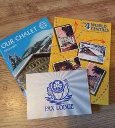 The 4 World centres, Our Chalet books and Pax Lodge postcard