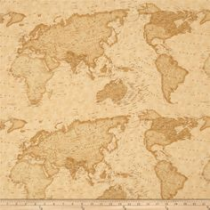 Tan vintage style world map fabric passport by 3 sisters from moda moda passport peace on earth sand from fabricdotcom designed by 3 sisters for moda this cotton print fabric is perfect for quilting apparel and home gumiabroncs Images