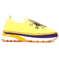 Dolce & Gabbana Embellished Espadrille Slip-on Sneakers (12,895 MXN) ❤ liked on Polyvore featuring shoes, sneakers, slip on sneakers, espadrille sneakers, purple sneakers, woven leather shoes and yellow sneakers