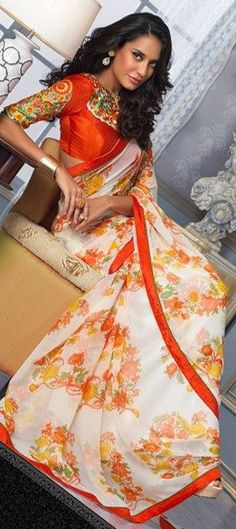 Party Wear Sarees, Bollywood sarees, Georgette, Printed, White and Off White Color Family India Fashion, Ethnic Fashion, Asian Fashion, Women's Fashion, Indian Blouse, Indian Sarees, Indian Attire, Indian Wear, Indian Style