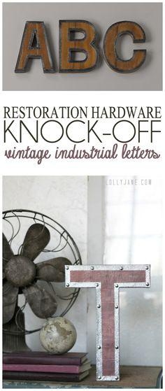 Restoration Hardware knock-off vintage industrial letters #diy #industrial #knockoff