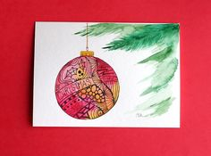 Watercolor card, ( No.209), Christmas ornament, greeting card, Christmas, ornament, holiday, original art,blank inside