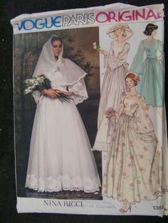 Vogue 1363 Misses 1970s Wedding Dress Pattern Nina by Elliesstudio, $15.00