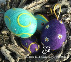 Handgevilte paaseieren van Like Little Bee. Kijk ook op facebook.com/likelittlebee. #paasgeschenk #likelittlebee
