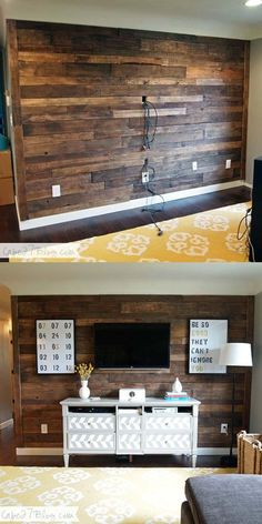 Cheap DIY Wood Accent Walls Decor Projects TV Pallet Wall:I have a big collection of beautiful and cheap DIY wood accent wall décor ideas for your inspiration. The post Cheap DIY Wood Accent Walls Decor Projects appeared first on Pallet ideas. Diy Pallet Wall, Pallet Walls, Pallet Furniture, Pallet Wall Bedroom, Man Cave Furniture, Garden Furniture, Pallet Chair, Furniture Projects, Kitchen Furniture