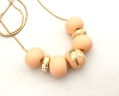 Peach White and Gold Leaf Polymer Clay Necklace by Studio1405