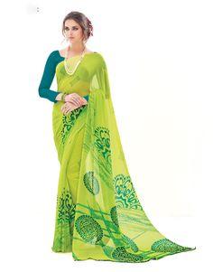 Green Pure Georgette Saree