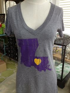 Fleurty Girl - Everything New Orleans - Louisiana Love, Purple and Gold, $25. Show some love for your favorite Louisiana college team! #tigers #lsu
