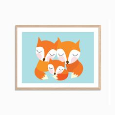 I LOVE this! Fox Family Poster : Modern Animal Illustration Retro Art Wall Decor Print A4 8 x 11