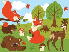 More Fox #Clipart can be found here: http://etsy.me/2ocwxnM  ITEM: Woodland Animals Clipart - #Digital #Vector Fox, Squirrel, Bear, Rabbit, Snail, Amimals Clip Art for Persona... #thecreativemill #clipart #digital #vector #woodland