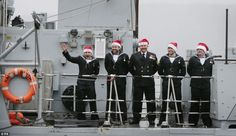 Some of the crew of HMS Blyth wear Santa hats during their homecoming at HM Naval Base on the Clyde. They have just completed a six-month NATO deployment. The Navy men and women received a warm, but very wet welcome, as they were greeted by family and friends who had waited patiently in the torrential rain....