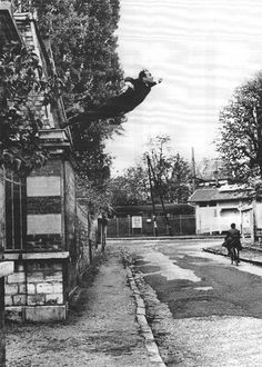 "Le Saut dans le Vide (""Leap into the Void"") is a photograph of an art performance by Yves Klein at Rue Gentil-Bernard, Fontenay-aux-Roses, in October 1960. [Photo by by Harry Shunk]"