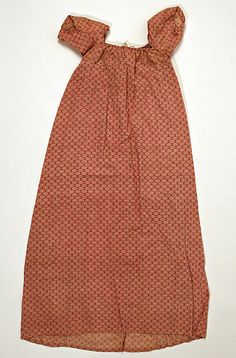 19th century red cotton dress - possibly for a child. Zoom in on the web page for closer look at the fabric pattern - in the Metropolitan Museum of Art costume collections.