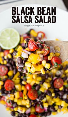 All the flavors of the Southwest in one zesty Black Bean Salsa Salad! Perfect for summer parties, this simple salad will be a hit! Served in White Coupe Flared Rim Serving Bowl from World Market. #WorldMarketTribe