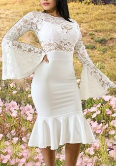 L Bust(cm) : Waist(cm) : Hip(cm) : Length(cm) : Type : Slim Material : Dacron Color : White Decoration : Lace, Ruffle Pattern : Floral Collar : Collarless Length Style : Below Knee Sleeve Length : Lo Lace Ruffle, Ruffles, Trendy Dresses, Fashion Dresses, Sweet Party, White Lace, White Dress, Confirmation Dresses, Floral Print Maxi Dress