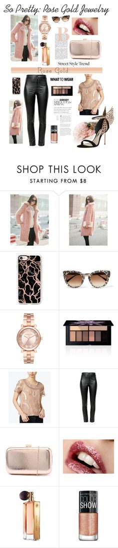 """""""So Pretty: Rose Gold Jewelry"""" by belladonnasjoy ❤ liked on Polyvore featuring WithChic, Casetify, Thierry Lasry, Michael Kors, Smashbox, Bar III, Étoile Isabel Marant, Verali, Guerlain and Maybelline"""