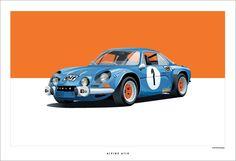 THE Berlinette, la #A110, sportive française mythiue de la marque #Alpine, création graphique de Arthur Schening. Plus d'infos sur l'article de News d'Anciennes : http://newsdanciennes.com/2015/01/24/morceaux-darts-du-samedi-arthur-schening/