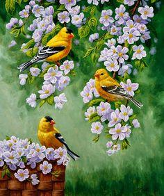 cuadro-pintado-con-flores-y-pajaros