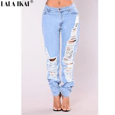 6b952167c54 Pre Sale Plus Size Skinny Jeans Women Hole Destroyed Distressed Denim Pants Female  Boyfriend Hollow Out Trousers Girl KWA0326 45-in Jeans from Women s ...