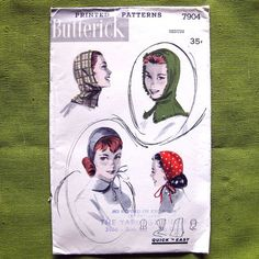 1950 Vintage Sewing Pattern Hats - Butterick 7904 -  Cap and Hood //  Size Medium