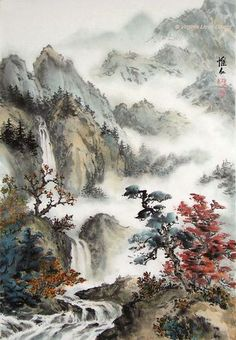 56 Ideas For Chinese Landscape Art Chinese Landscape Painting, Fantasy Landscape, Landscape Art, Landscape Paintings, Fantasy Art, Japan Painting, China Painting, Oil Painting Abstract, Chinese Drawings