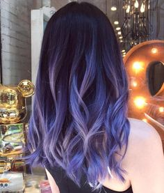 Blue And Pastel Purple Balayage