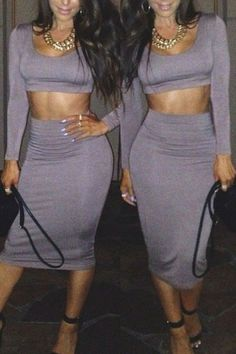 Two Piece Bodycon Crop Top and Skirt Set 5 color Black,White,Red,Orange,Gray  -$6.99