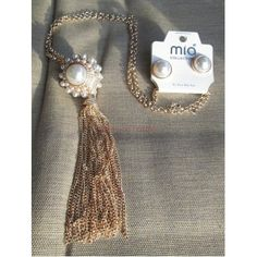 Fashion Pearl Cluster Long Tassel Gold Chain Necklace Matching Earring Jewelry Set