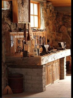 Forge Workbench and Stone Wall