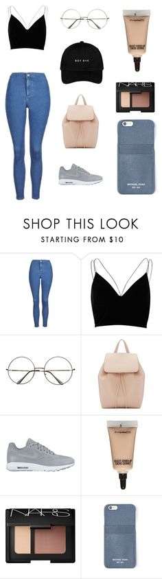 """Goals Tumblr"" by yulidounut ❤ liked on Polyvore featuring Topshop, River Island, Mansur Gavriel, NIKE, MAC Cosmetics, NARS Cosmetics and MICHAEL Michael Kors"