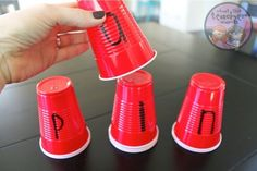 You simply write letters on plastic cups (I, of course, used Red Solo Cups). I can easily switch any of the sounds out and my student can blend the new word. It works on real words and nonsense words