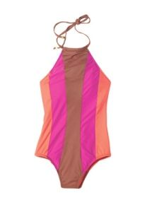 DKNY Colorblock High Neck One Piece Swimsuit