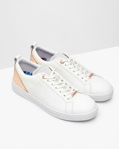 5a63ad1e1c Ted Baker white lace up sneakers with gold accents Seaside Soles
