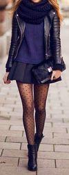 Navy Blue, Black Leather, Polkadot Pattern Tights