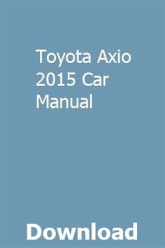 toyota corolla axio 2014 user manual download